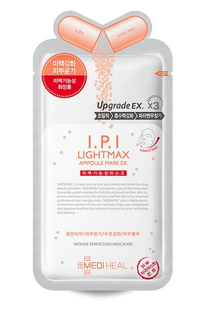 """**7. Mediheal I.P.I Lightmax Ampoule Mask** <br><br> """"This is a brightening regular sheet mask that has arbutin and sodium hyaluronate high up on the ingredient list, and some other brightening ingredients such as vitamin C and grape fruit extract further down on the list. I like this mask because it has a lot of essence, and I like the fragrance (last item on the ingredient list). I can't really describe what it smells like, but it's really soft to me, obviously if you don't like fragrance you should avoid this one, but for me, it's a nice additive,"""" says [Veronicaxrowena](https://www.reddit.com/user/veronicaxrowena