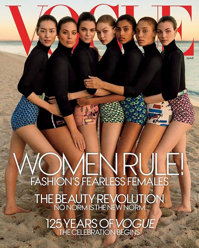 "**GIGI HADID'S ARM IN AMERICAN *VOGUE*** <br><br> American *Vogue*'s March issue celebrated ""modern American women,"" but people took notice of what appeared to be **Gigi Hadid**'s super long arm and hand across **Ashley Graham** waist.  <br><br> *Image: [Instagram](https://www.instagram.com/p/BQQgKMKgqs9/