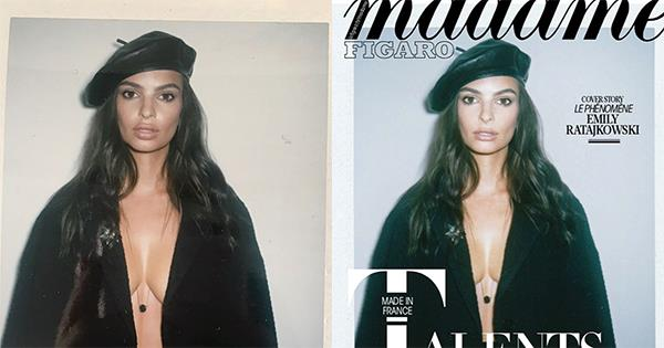 """**EMILY RATAJKOWSKI'S BREASTS AND LIPS IN *MADAME FIGARO* MAGAZINE** <br><br> In September, **Emily Ratajkowski** appeared on the cover of French magazine *Madame Figaro* but noticed that her lips and breasts were photoshopped.  <br><br> """"I was extremely disappointed to see my lips and breasts altered in photoshop on this cover,"""" she wrote on [Instagram](https://www.instagram.com/p/BZEPYPSFOfR/