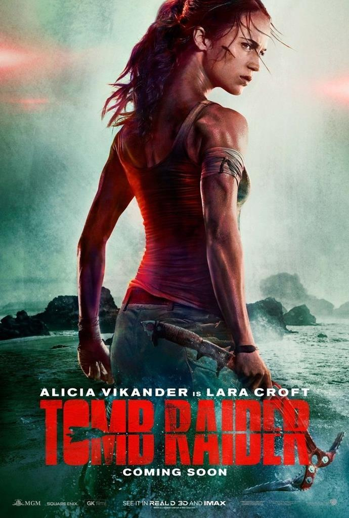 **ALICIA VIKANDER'S NECK IN THE *TOMB RAIDER* POSTER** <br><br> This *Tomb Raider* poster featuring **Alicia Vikander** went viral in September, because she appeared to have an unusually bendy neck.
