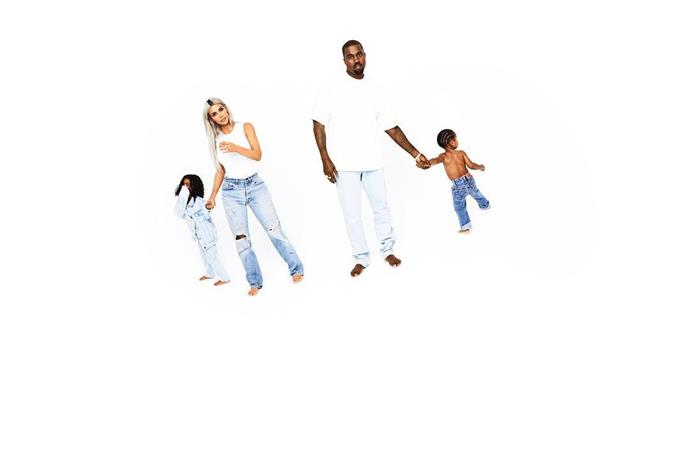 Day 16: North West, Kim Kardashian West, Kanye West and Saint West.