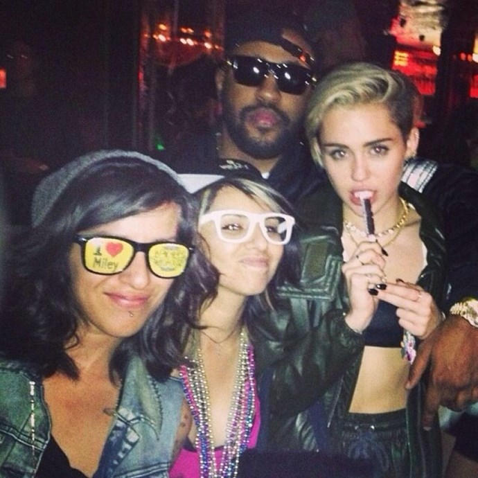 Miley Cyrus famously chose a BDSM theme for her party, wearing a minimalist black co-ord and a leather jacket.