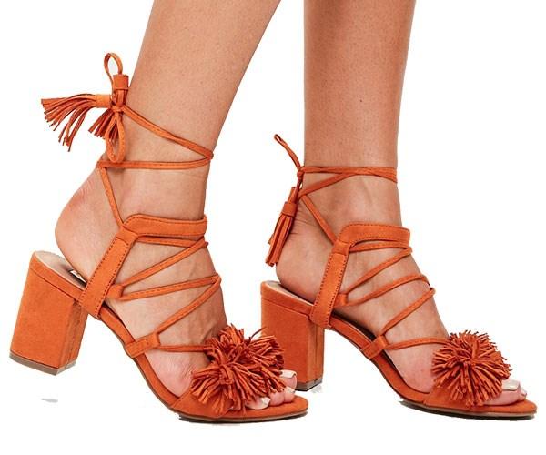 "Shoes, $31 at [Missguided](https://www.missguidedau.com/orange-pom-pom-tassel-block-heel-10060045|target=""_blank""|rel=""nofollow"")"