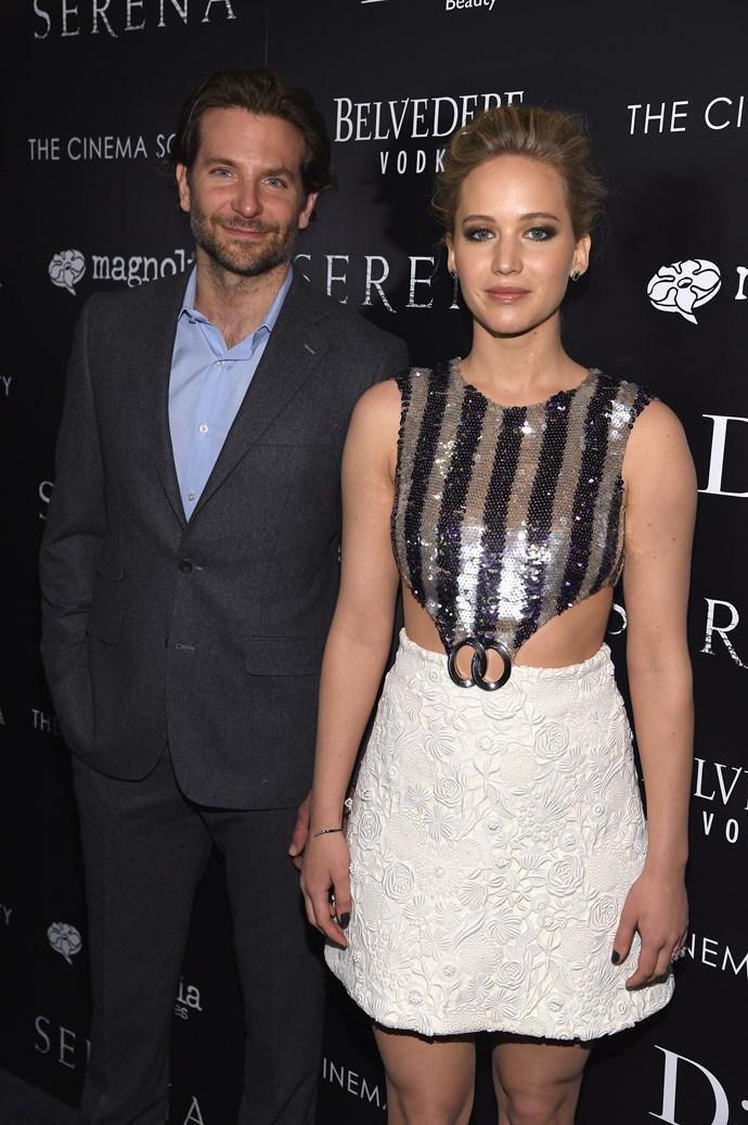 Jennifer Lawrence with her co-star Bradley Cooper.