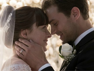 A full look at Anastasia's wedding dress in Fifty Shades Freed