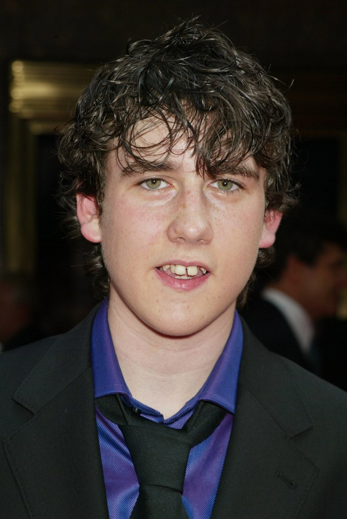 Matthew Lewis attending the premiere of the movie. Opting for the wet-look hair here, we hope.