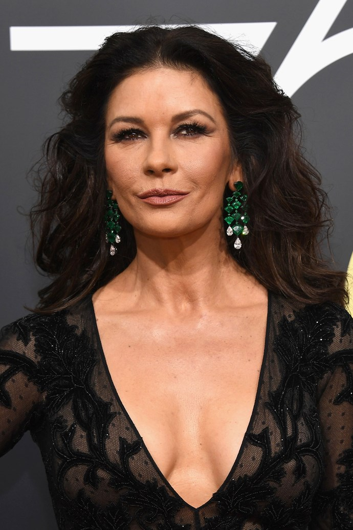 **Catherine Zeta-Jones** <br><br> CZJ is all about classic beauty on this year's red carpet, rocking a smokey eye and lashes for days.