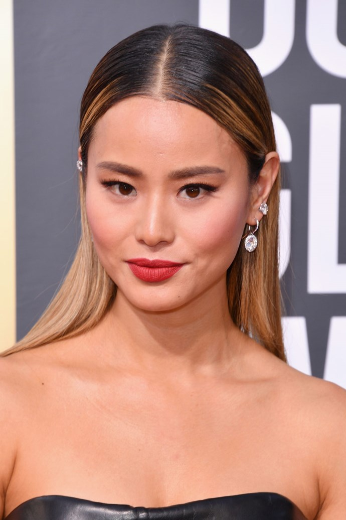 **Jamie Chung** <br><br> The winged eye makes yet another appearance on Jamie Chung. The actress paired her simple eye makeup with a berry lip.