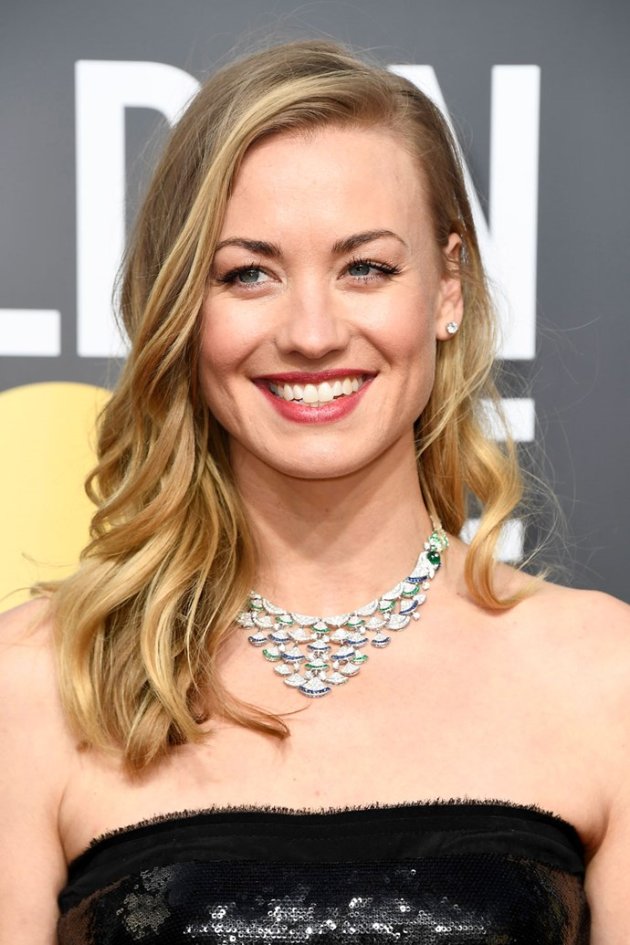 **Yvonne Strahovski** <br><br> This Aussie actress needs no more than the swipe of mascara and pink lip she rocked on this year's red carpet.
