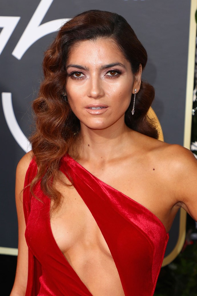 **Blanca Blanco** <br><br> Controversial red carpet attendee Blanca Blanco opted for tight curls and a warm smokey eye.