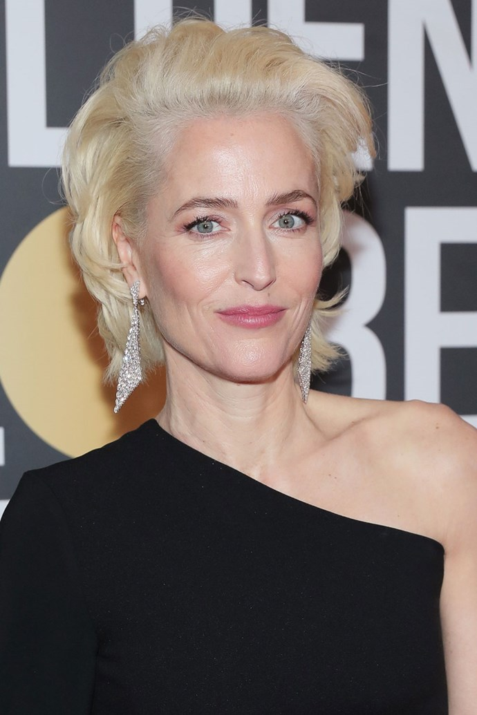 **Gillian Anderson** <br><br> We are getting serious Marilyn Monroe vibes from Gillian Anderson's Golden Globes 'do.
