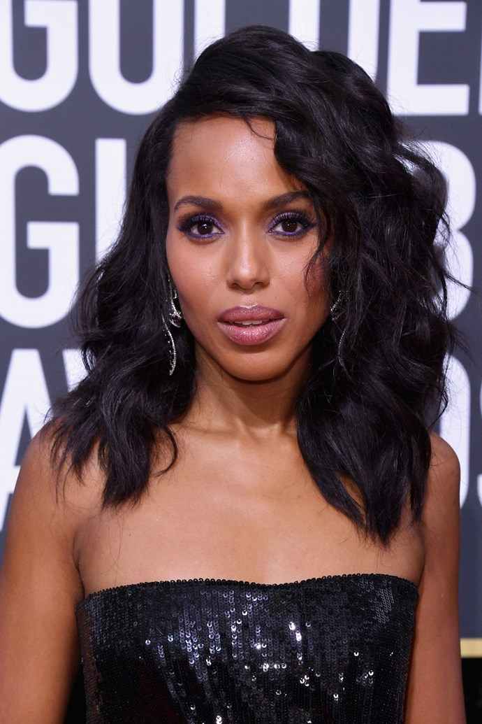 **Kerry Washington** <br><br> Kerry kept a clean base for her beauty look, wearing just a purple eyecolour and a bad of lip gloss.