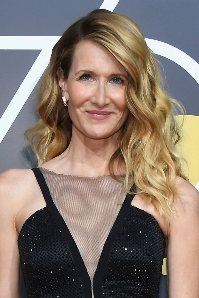 **Laura Dern** <br><br> The *Big Little Lies* actress kept her beauty look casual on this  year's red carpet with sunkissed waves and equally as sunkissed cheeks.