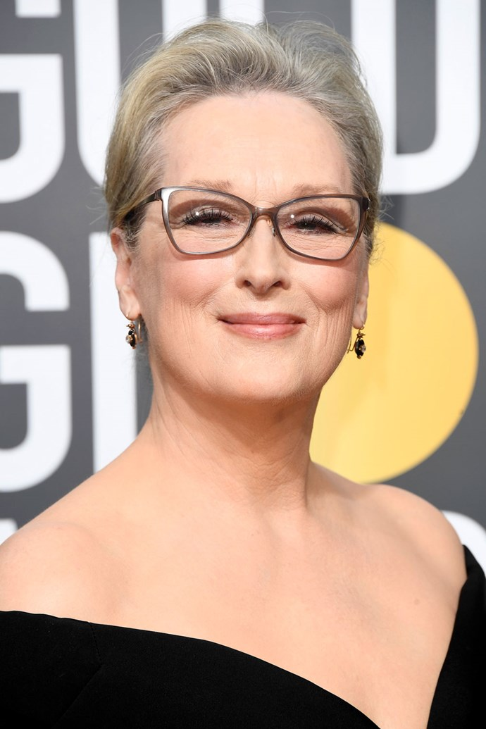 **Meryl Streep** <br><br> Swept back hair and a classic makeup look. We'd expect no less from Meryl!