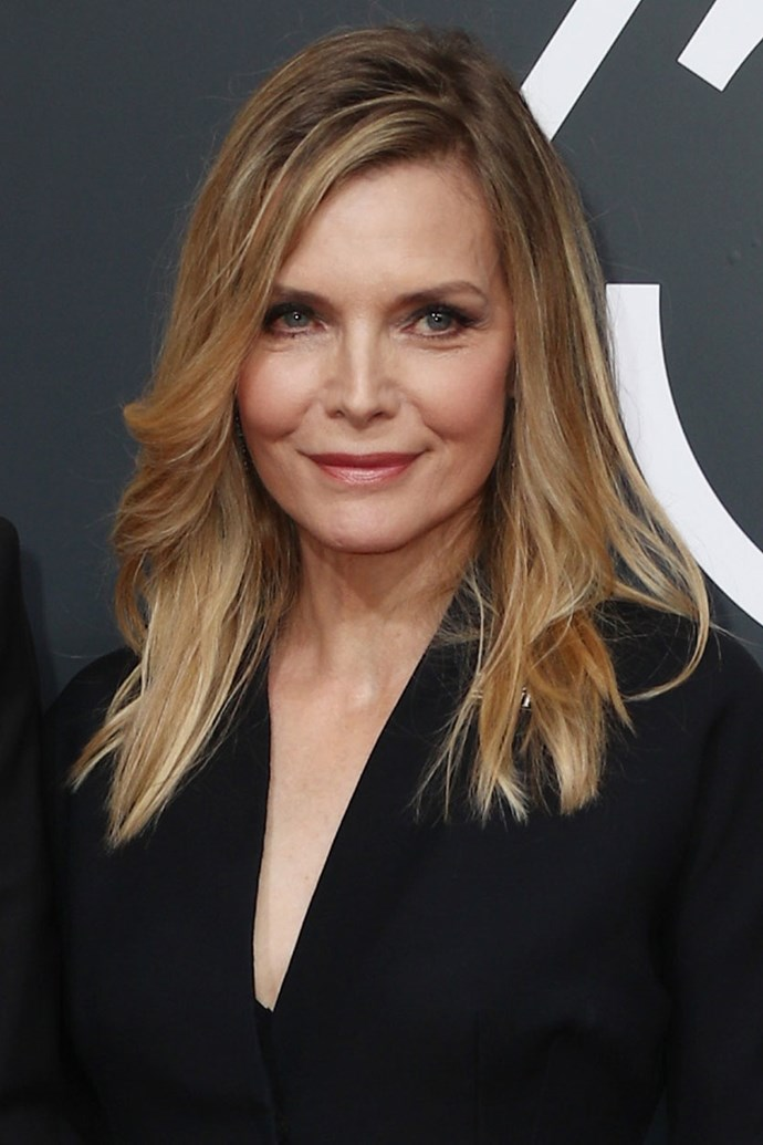 **Michelle Pfeiffer** <br><br> Michelle Pfeiffer stepped out in with super-natural hair and makeup on this year's red carpet.