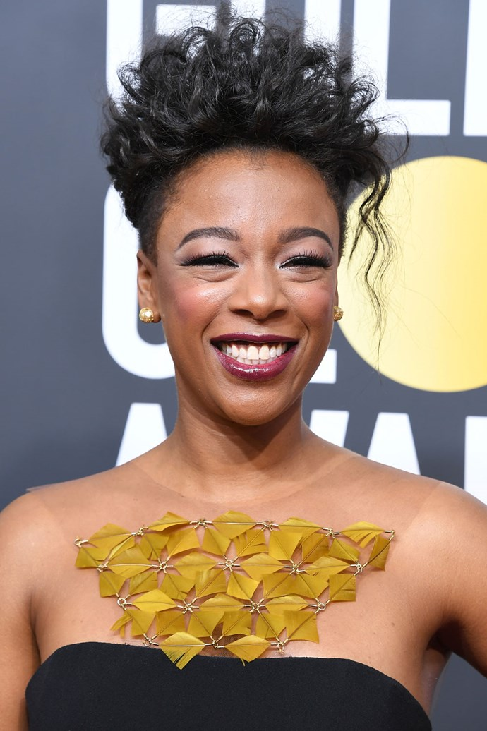 **Samira Wiley** <br><br> The *Orange Is The New Black* actress absolutely glowed in violet tones and a curly updo.