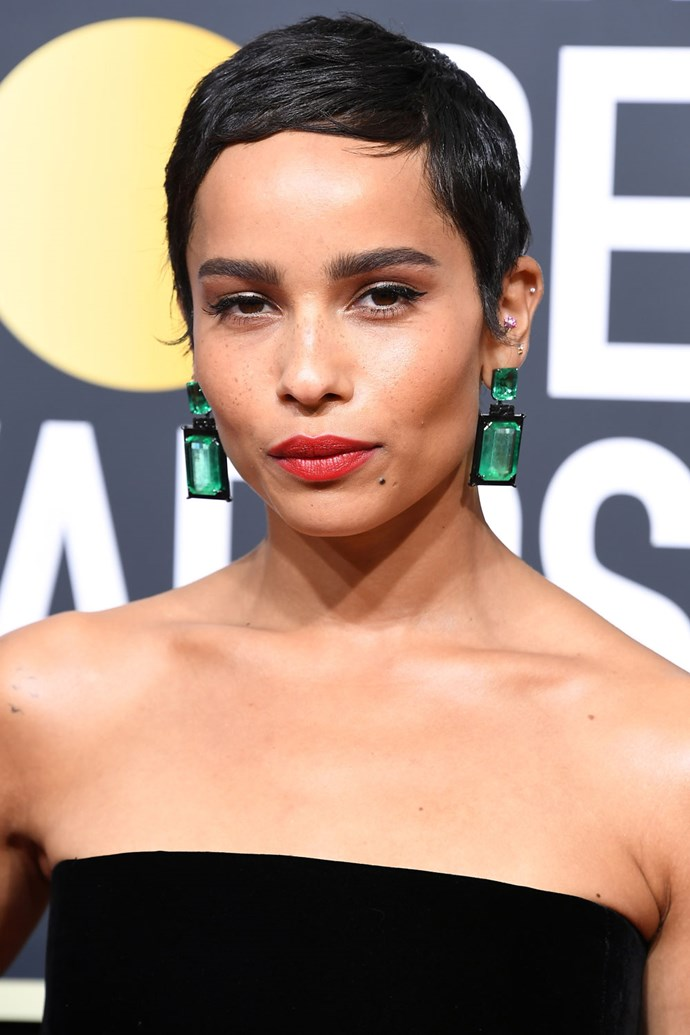 **Zoe Kravitz** <br><br> Ultimate cool girl Zoe Kravitz once again proves she can do no wrong, rocking a brunette pixie and a bold red lip.