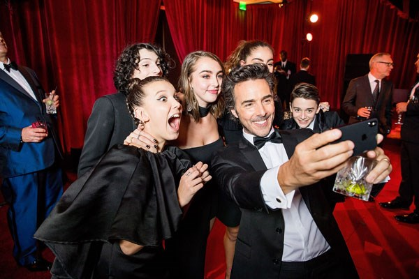 Millie Bobby Brown, Finn Wolfhard, Shawn Levy and Noah Schnapp
