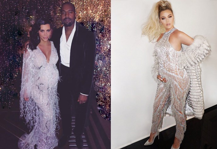 Khloé's party debut of her growing bump was in an extravagant beaded, sparkly jumpsuit — looking remarkably similar to sister Kim's sparkly fringe dress that she wore for her mum's *Great Gatsby*-themed birthday party.