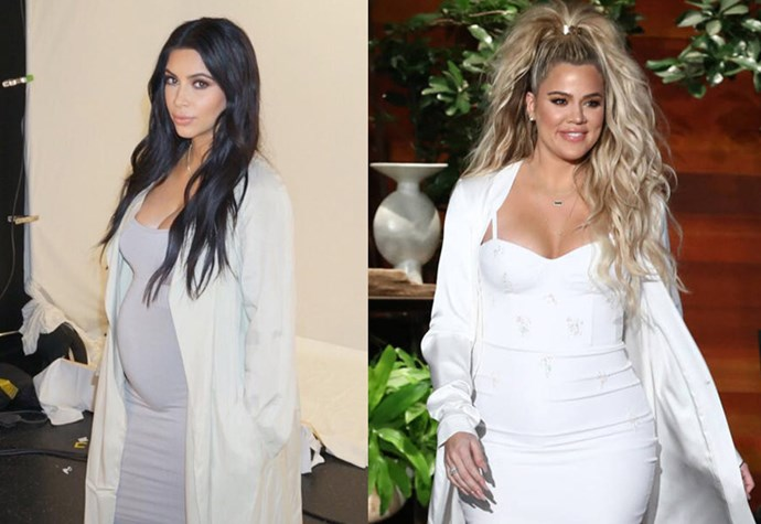 When Khloé Kardashian appeared on *The Ellen Show* we got instant Kim K vibes, as a maternity style go-to for her is a tight bodycon dress with a long silky overcoat — in neutral tones, obviously.