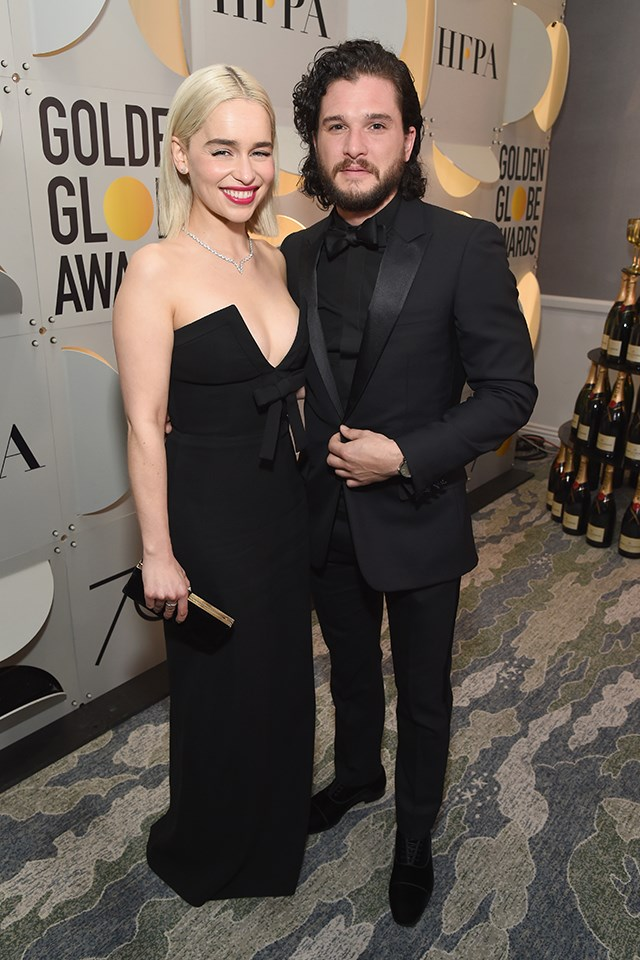 **Emilia Clarke** and **Kit Harington** work together on *Game of Thrones*. This wasn't technically a reunion as the show is still running, but who knows how long they haven't seen each other for.
