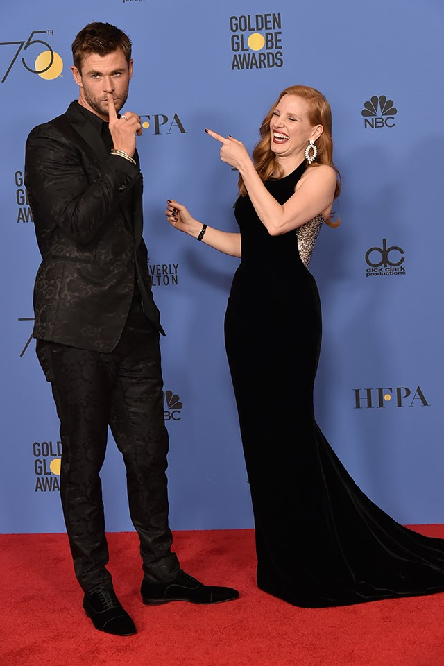 **Jessica Chastain** also had a *The Huntsman: Winter's War* reunion with **Chris Hemsworth**.