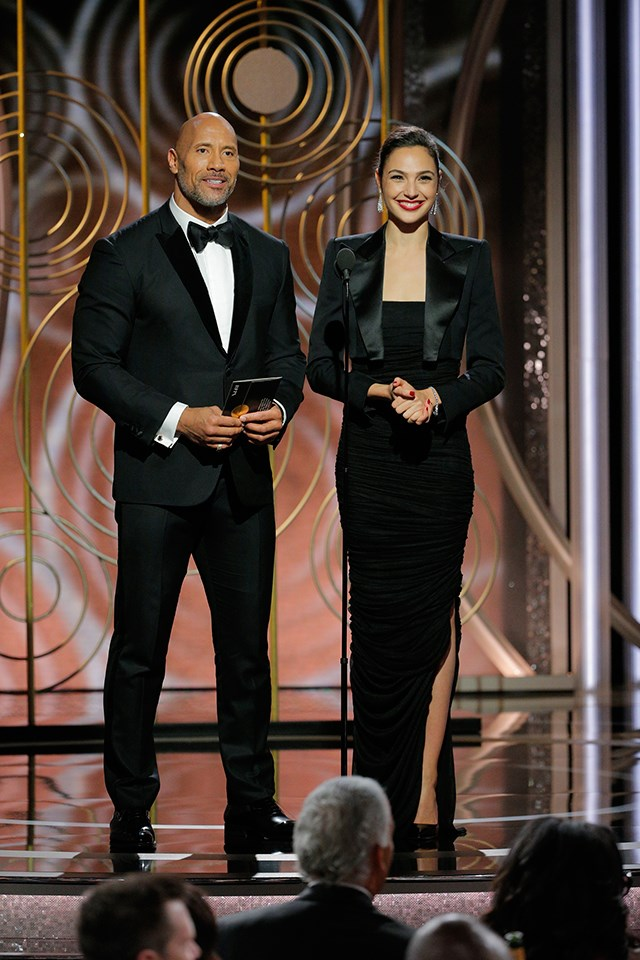 **Dwayne 'The Rock' Johnson** and **Gal Gadot** were the first presenters of the night. They worked together in *Fast Five* and *Fast & Furious 6*.