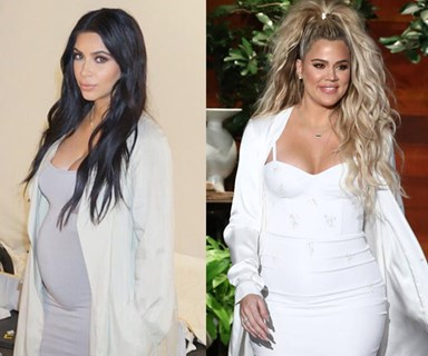 Everytime Khloé and Kim Kardashian styled their bumps ~almost~ exactly the same way
