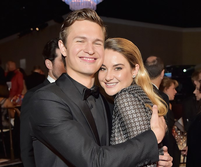 Ansel Elgort and Shailene Woodley at 2018 Golden Globes