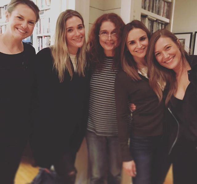"**The Baby-Sitters Club**  Schuyler Fisk, who played Kristy Thomas in the 1995 movie, shared this photo with Larisa Oleynik (Dawn Schafer), Bre Blair (Stacey McGill), director Melanie Mayron and Rachael Leigh Cook (Mary Anne Spier) on Instagram. ""This is a club i'm so grateful to be a part of,"" she wrote. ""These women have my heart...and all my secrets. #friendsforever #bsc4life."""