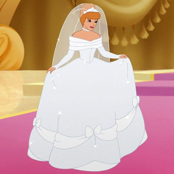 ***Cinderella***  Cinderella's off-the-shoulder gown, complete with bow detailing, was one the OG Disney bridal look as far as we're concerned.