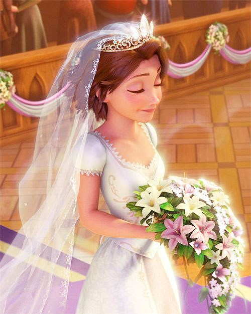 ***Tangled***  Rapunzel's dress was pretty low-key with the exception of lace trim gold embroidery around the bodice.