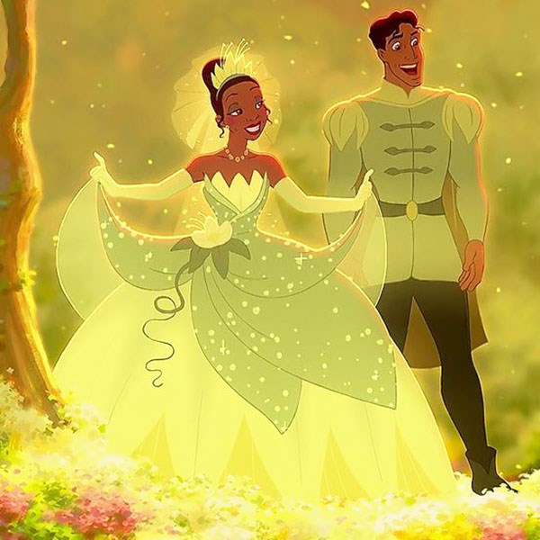 ***Princess And The Frog***  Tiana had the classic floofy princess gown and made it personal by breaking free from the all-white colour scheme and finishing with floral detailing.