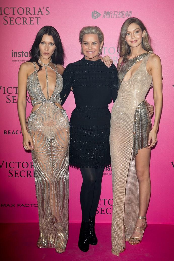 Bella Hadid, Yolanda Hadid and Gigi Hadid attend '2016 Victoria's Secret Fashion Show'