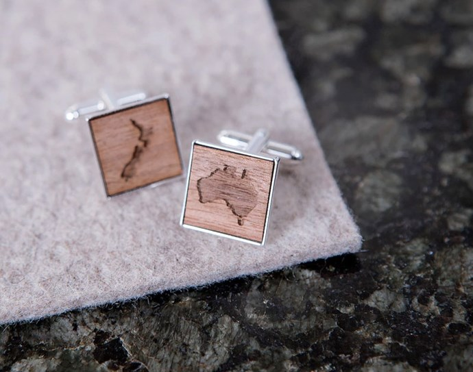 Clouds And Currents Personalised Wooden Map Cufflinks, $49 from [Hard To Find](https://www.hardtofind.com.au/102100_personalised-wooden-map-cufflinks).