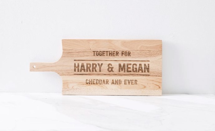 Personalised Together For Cheddar And Ever Cheese Board, $59.99 from [Hard To Find](https://www.hardtofind.com.au/156977_personalised-together-for-cheddar-and-ever-cheese-board).