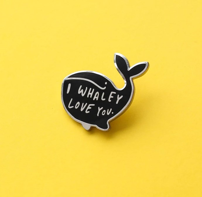 Whaley Love You Enamel Pin, $17.06 from [Hard To Find](https://www.hardtofind.com.au/162692_whaley-love-you-enamel-pin).