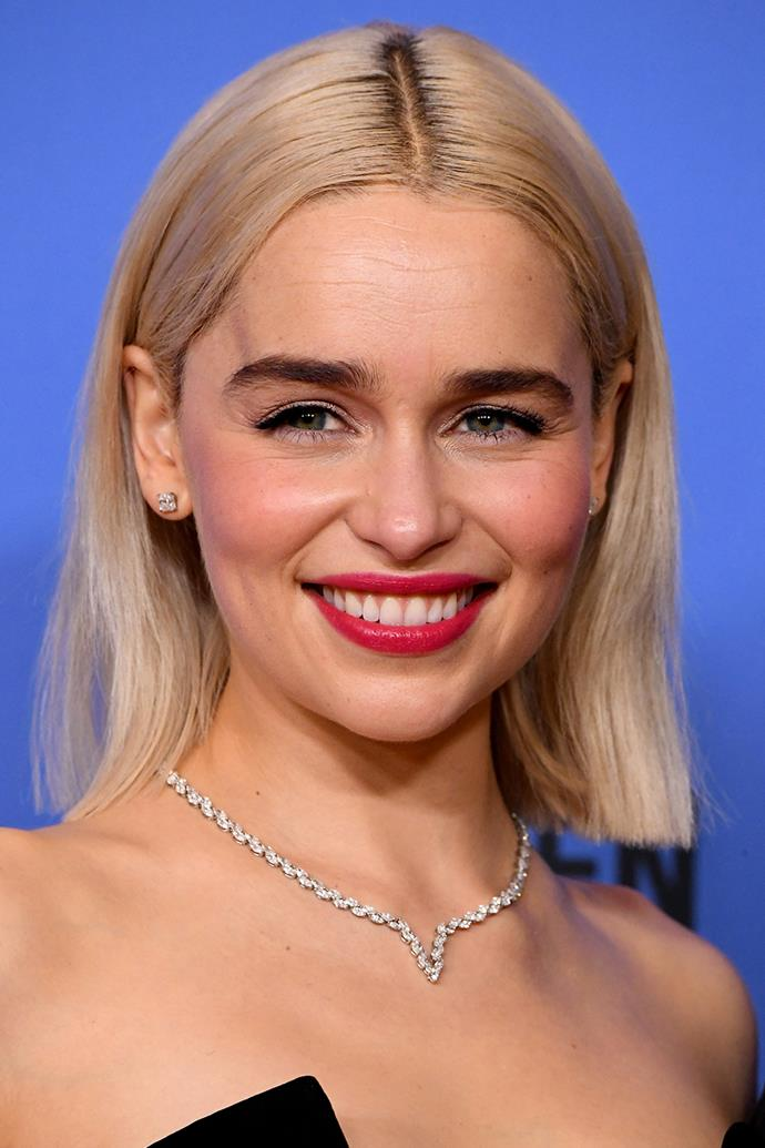 """FACT: Confidence is sexy. Make a bold first impression with a statement lip à la **Emilia Clarke**. Prep lips by lathering on a thick lip balm (cue: Paw Paw ointment), before soaking up any excess residue with blotting paper sheets. Apply a poppy lipstick and use a cotton bud to slightly blur the lip line. Hot tip: Opt for a matte long-lasting shade you won't need to keep reapplying all night. Try [Fenty Beauty Mattemoiselle Plush Matte Lipstick in Candy Venom](https://www.sephora.com.au/products/fenty-beauty-mattemoiselle-plush-matte-lipstick/v/candyvenom