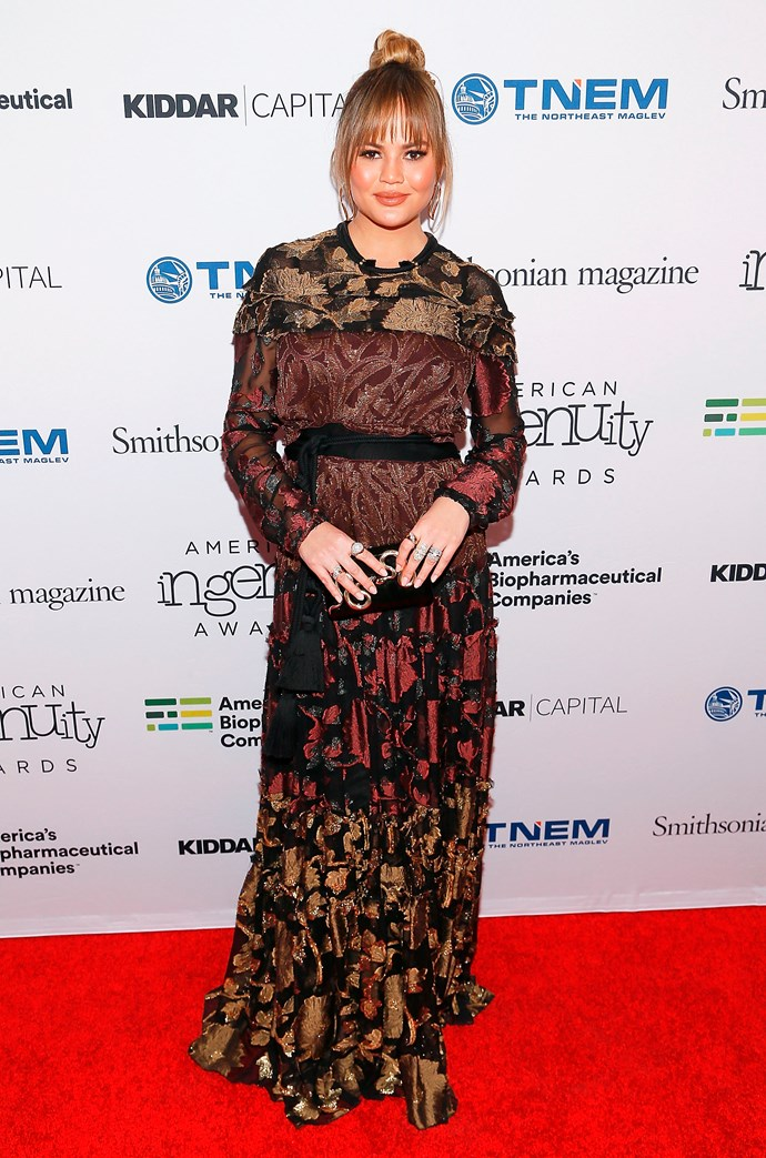 Chrissy debuted her bump from baby number two  at  Smithsonian Magazine's 2017 American Ingenuity Awards, where she wore a pretty, burgundy-coloured dress.