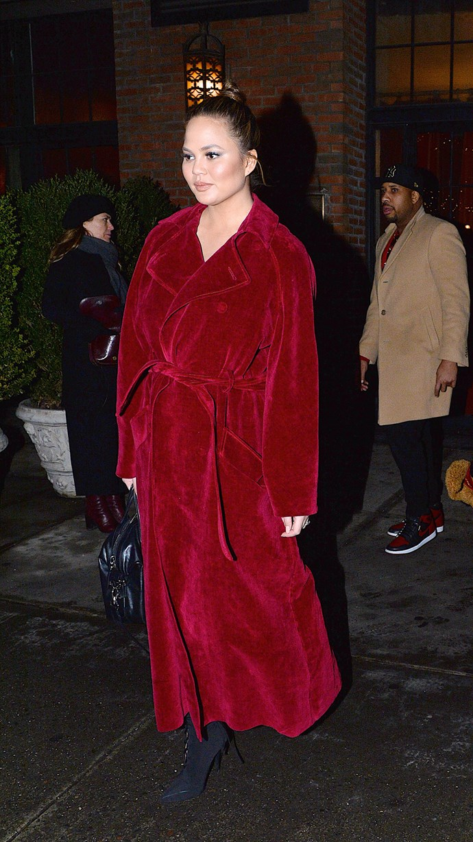 Most genius fashion move ever? Chrissy makes a fluffy robe look stylish while out in New York.