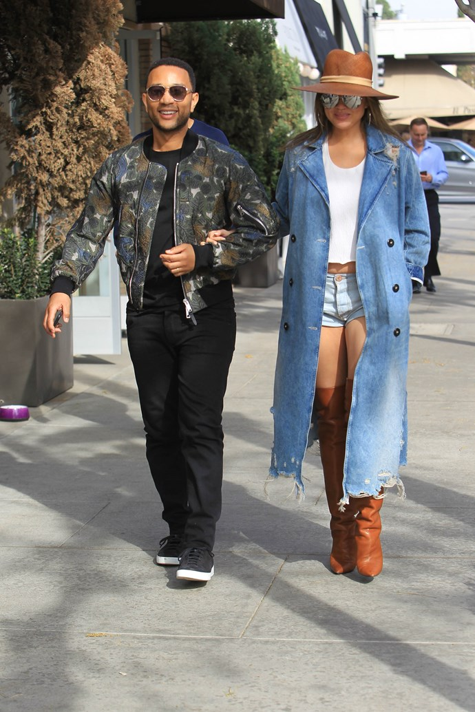 John and Chrissy stepped out in LA overnight in a super-stylish couples look. We are obsessed with Chrissy's get-up—who says you can't wear cut-offs when you're six months pregnant?