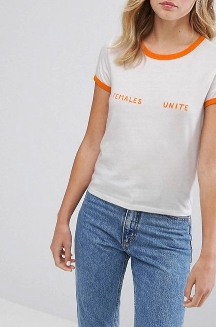 Monki Females Unite Slogan Tshirt, $20 from [ASOS](http://www.asos.com/au/monki/monki-females-unite-slogan-t-shirt/prd/8449147?clr=white&SearchQuery=female&gridcolumn=4&gridrow=1&gridsize=4&pge=1&pgesize=72&totalstyles=27).