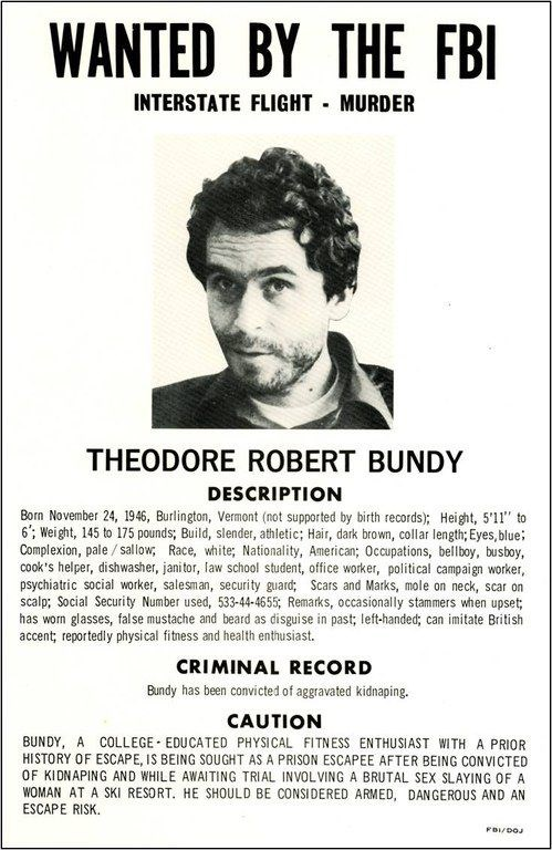 Ted Bundy's Most Wanted FBI poster.