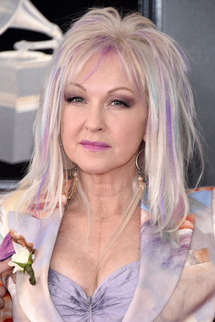 **Cyndi Lauper** <br><br> The singer proves that she still just wants to have fun, repping unicorn streaks and a bright pink lip.