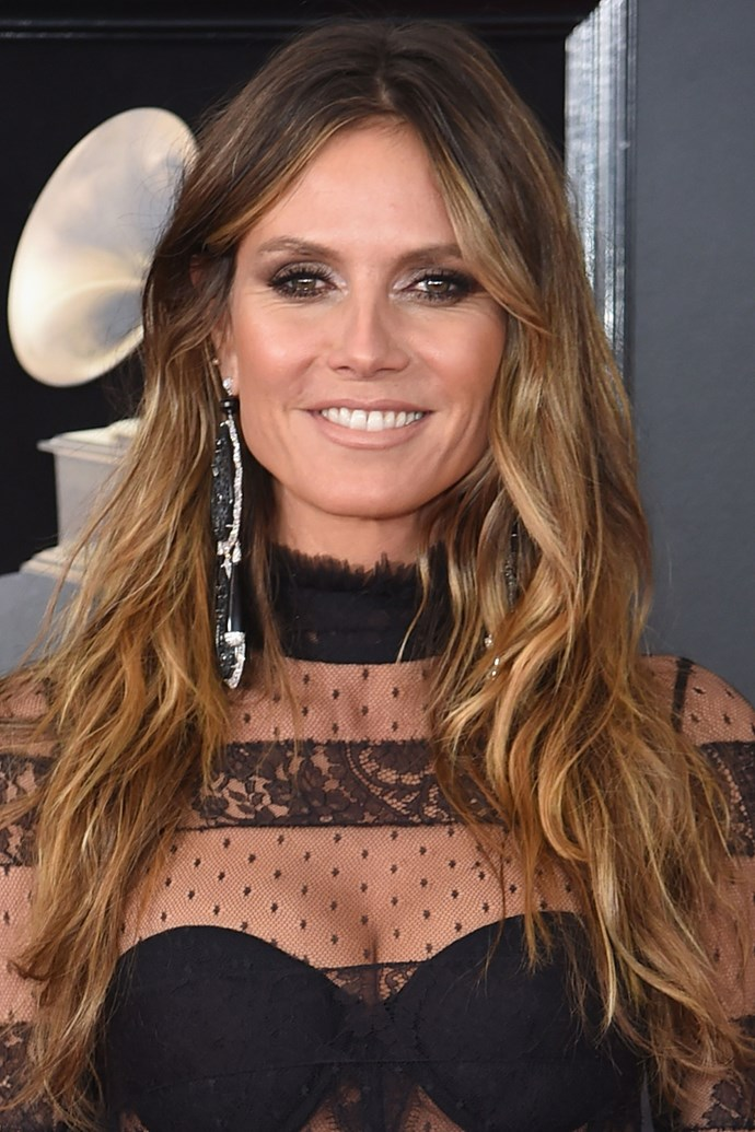 **Heidi Klum** <br><br> It goes without saying that Heidi Klum SHUTS DOWN every red carpet she sets foot on, especially when she turns out a timeless beauty look like this one.