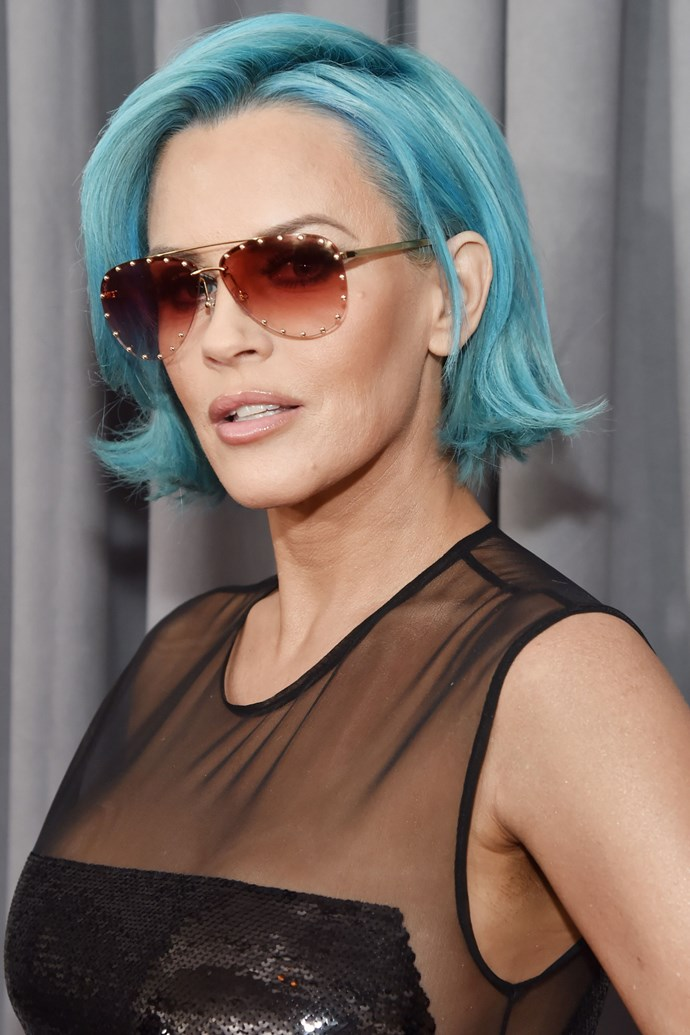 **Jenny McCarthy** <br><br> Jenny's blue bob was definitely an item, and kept in line with the traditional whack Grammy's red carpet code.