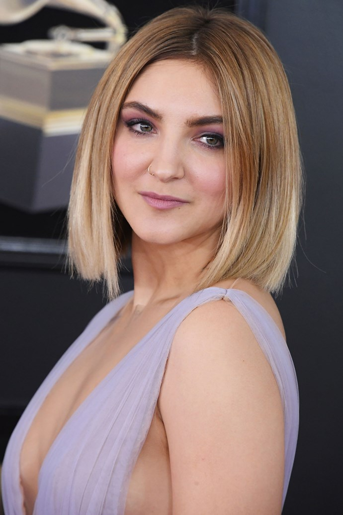 **Julia Michaels** <br><br> Julia reflected the tones in our outfit throughout our beauty look, repping a violet-toned lip and eye combo.