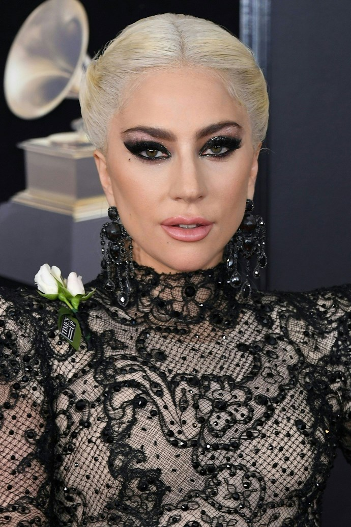 **Lady Gaga** <br><br> We are DYING for Gaga's Grammys beauty look this year. The bold winged eye and glitter shadow combo, paired with that insane laced fishtail braid have us calling this the best beauty look of the night hands down!