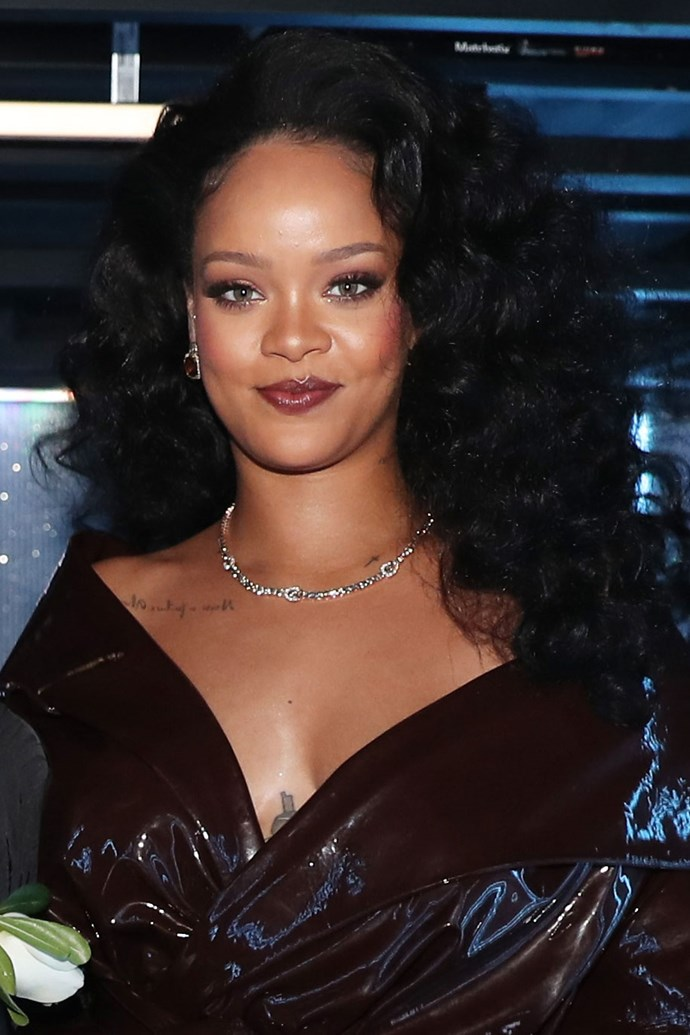 **Rihanna** <br><br> Even though RiRi skipped the red carpet, we still managed to catch a glimpse of her voluminous curls and wine lip stain backstage.