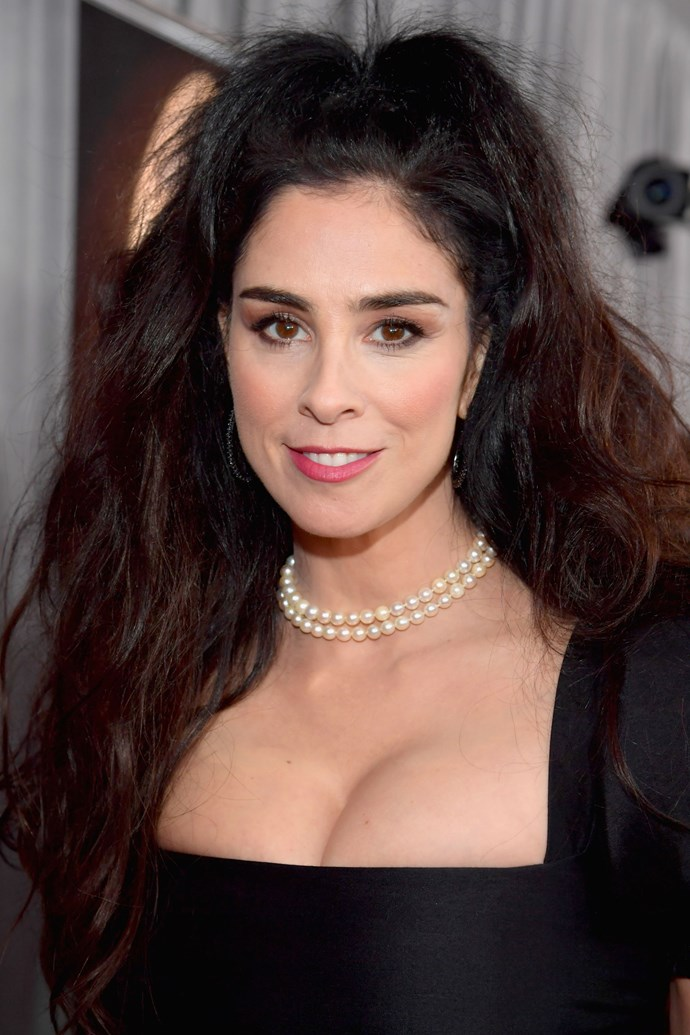**Sarah Silverman** <br><br>  The comedian is giving us serious Bellatrix Lestrange vibes, but manages to keep the look glam and feminine with a rose pink lip and blushed cheese.